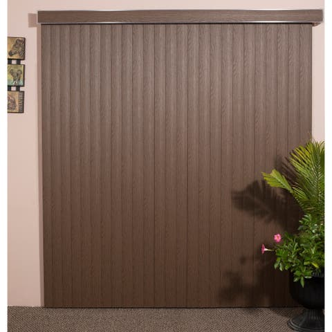 "Chestnut Woodlook Vinyl Vertical Blind, 72"" L x 36"" to 98"" W, CORDLESS"