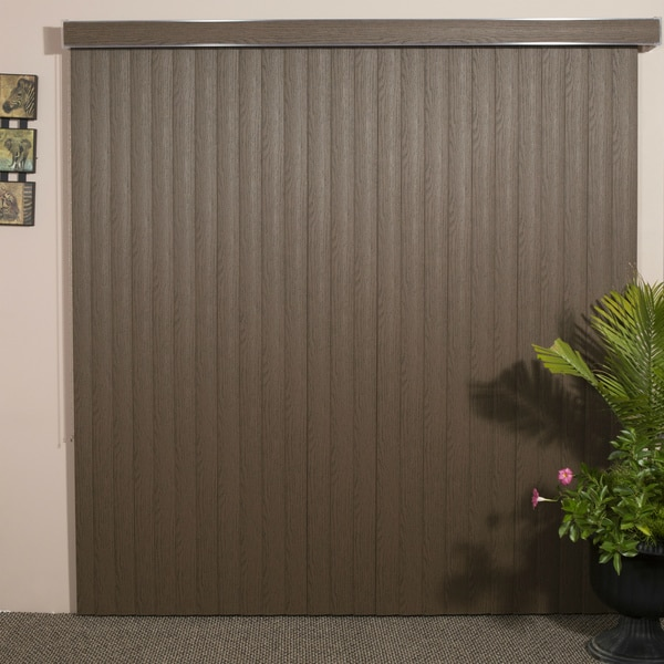 WoodLook Chestnut Textured Vinyl Veritical Blind, 60 inches Long x 36 to 98 inches Wide