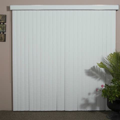 """White Woodlook Vinyl Vertical Blind, 48"""" L x 36"""" to 98"""" W, CORDLESS"""