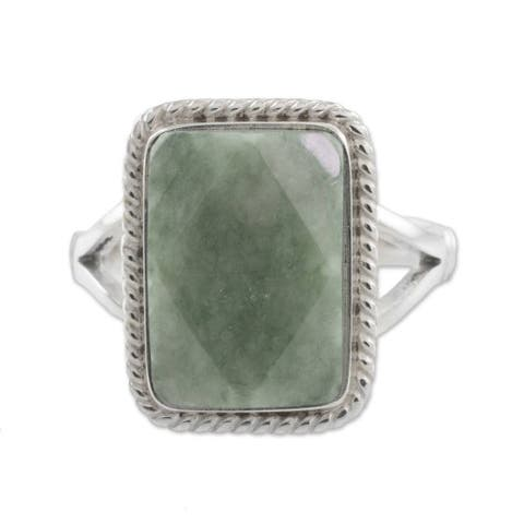 Green Nuances Jade Sterling Silver Ring