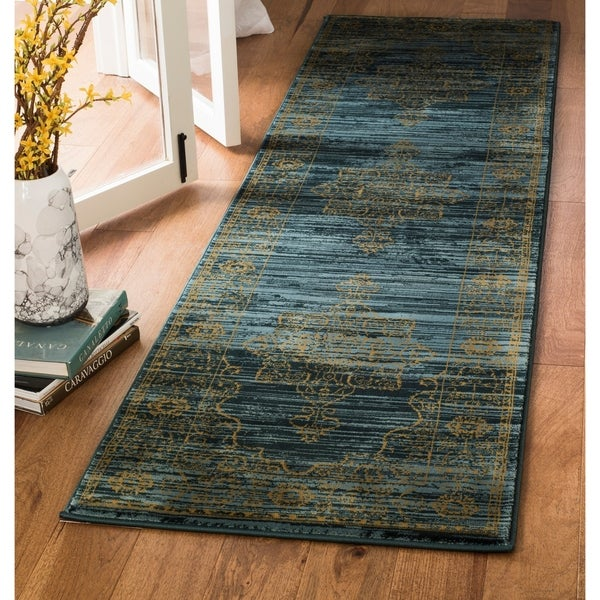Safavieh Serenity Transitional Oriental Turquoise/ Gold Runner Rug - 2'3 x 12'
