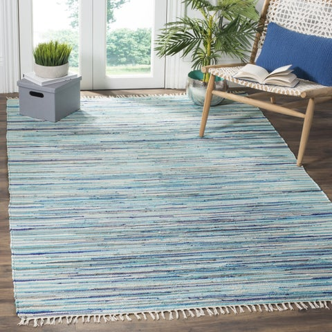 Safavieh Rag Rug Transitional Stripe Hand-Woven Cotton Turquoise/ Multi Area Rug - 4' x 4' Square