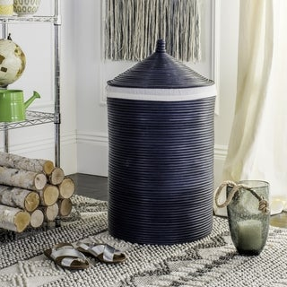 Safavieh Wellington Rattan Navy Storage Hamper With Liner