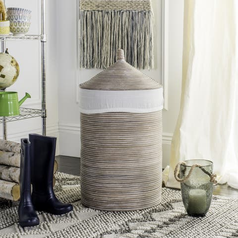 "Safavieh Wellington Rattan White Wash Storage Hamper With Liner - 19.5"" x 19.5"" x 33.1"""
