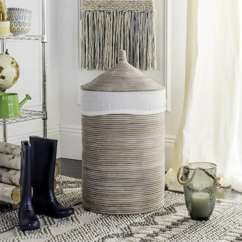 "Safavieh Wellington Rattan White Wash Storage Hamper With Liner - 19.5"" x 19.5"" x 33.1"""