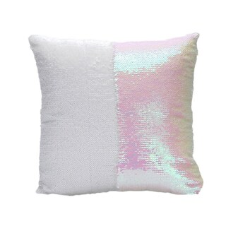 Reversible Sequins Mermaid Pillow Cover - Same colors on both sides (Option: White/Pink)