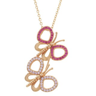 Luxiro Rose Gold Finish Sterling Silver Lab-created Ruby Butterfly Pendant Necklace - Pink