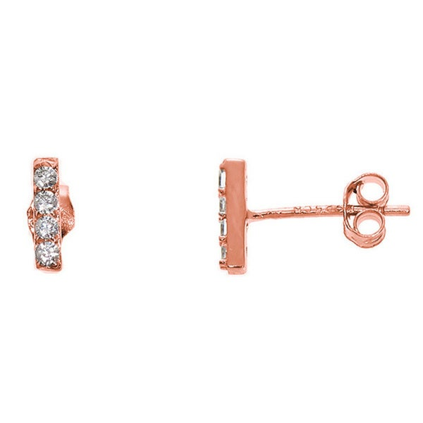 Eternally Haute Solid Sterling Silver Pave Bar Stud
