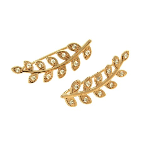 Eternally Haute 14k Gold-plated Brass Cubic Zirconia Pave Wreath Ear Climber - Silver