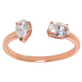 Eternally Haute Women's 14k Rose Gold-plated Pear/Princess Crystal Cuff Ring - Pink
