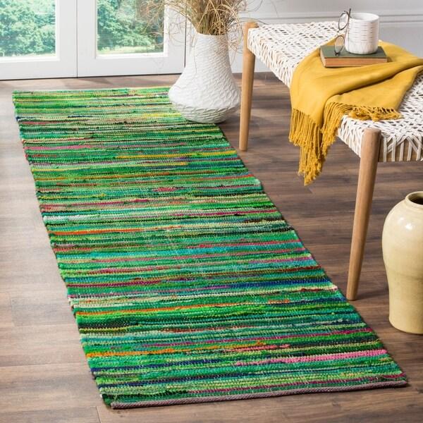 Safavieh Rag Rug Transitional Stripe Hand-Woven Cotton Green/ Multi Runner Rug - 2'3 x 12'