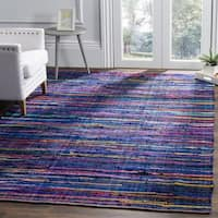 Safavieh Rag Rug Transitional Stripe Hand-Woven Cotton Red/ Multi Runner Rug - 2'3 x 6'