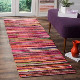 Safavieh Rag Rug Transitional Stripe Hand-Woven Cotton Red/ Multi Runner Rug - 2'3 x 5'