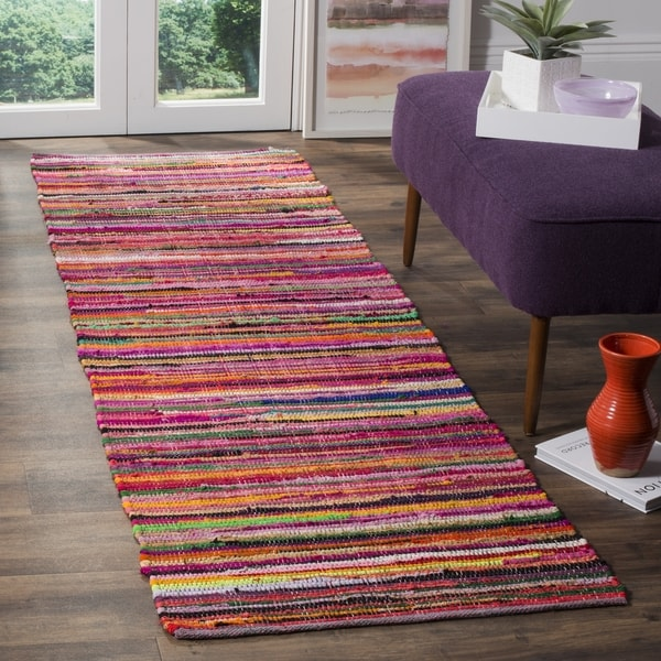 Safavieh Rag Rug Transitional Stripe Hand-Woven Cotton Red/ Multi Runner Rug (2'3 x 10')