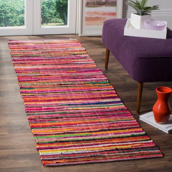 Safavieh Rag Rug Transitional Stripe Hand-Woven Cotton Red/ Multi Runner Rug - 2'3 x 10'
