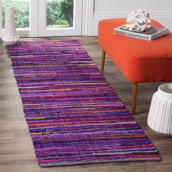 Safavieh Rag Rug Transitional Stripe Hand-Woven Cotton Purple/ Multi Runner Rug (2'3 x 7')