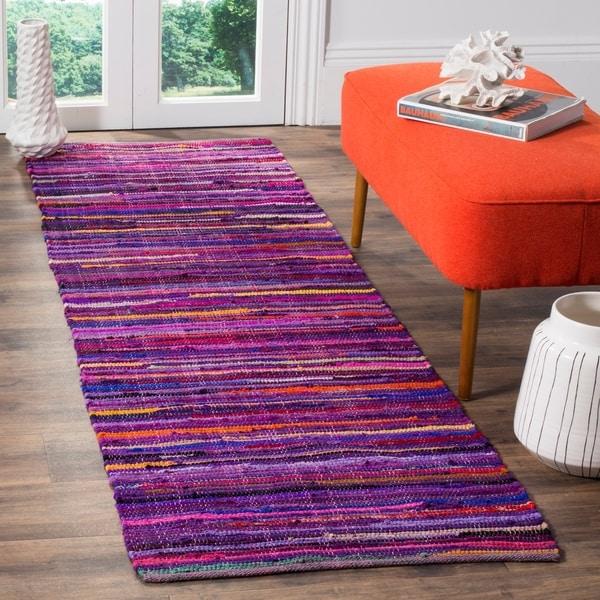 Safavieh Rag Rug Transitional Stripe Hand-Woven Cotton Purple/ Multi Runner Rug - 2'3 x 7'