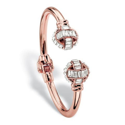 "Baguette-Cut Crystal Hinged Cuff Bangle Bracelet in Rose Gold Tone 8"" Bold Fashion"