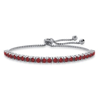 """Round Birthstone Crystal Drawstring Bracelet in Silvertone with Bead Accents 9.25"""" Color Fun"""