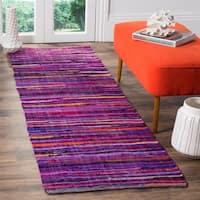 Safavieh Rag Rug Transitional Stripe Hand-Woven Cotton Purple/ Multi Runner Rug (2'3 x 6')