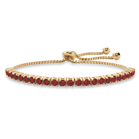 """Round Birthstone Crystal Drawstring Bracelet in 14k Gold-Plated with Bead Acents 9.25"""" Color Fun"""