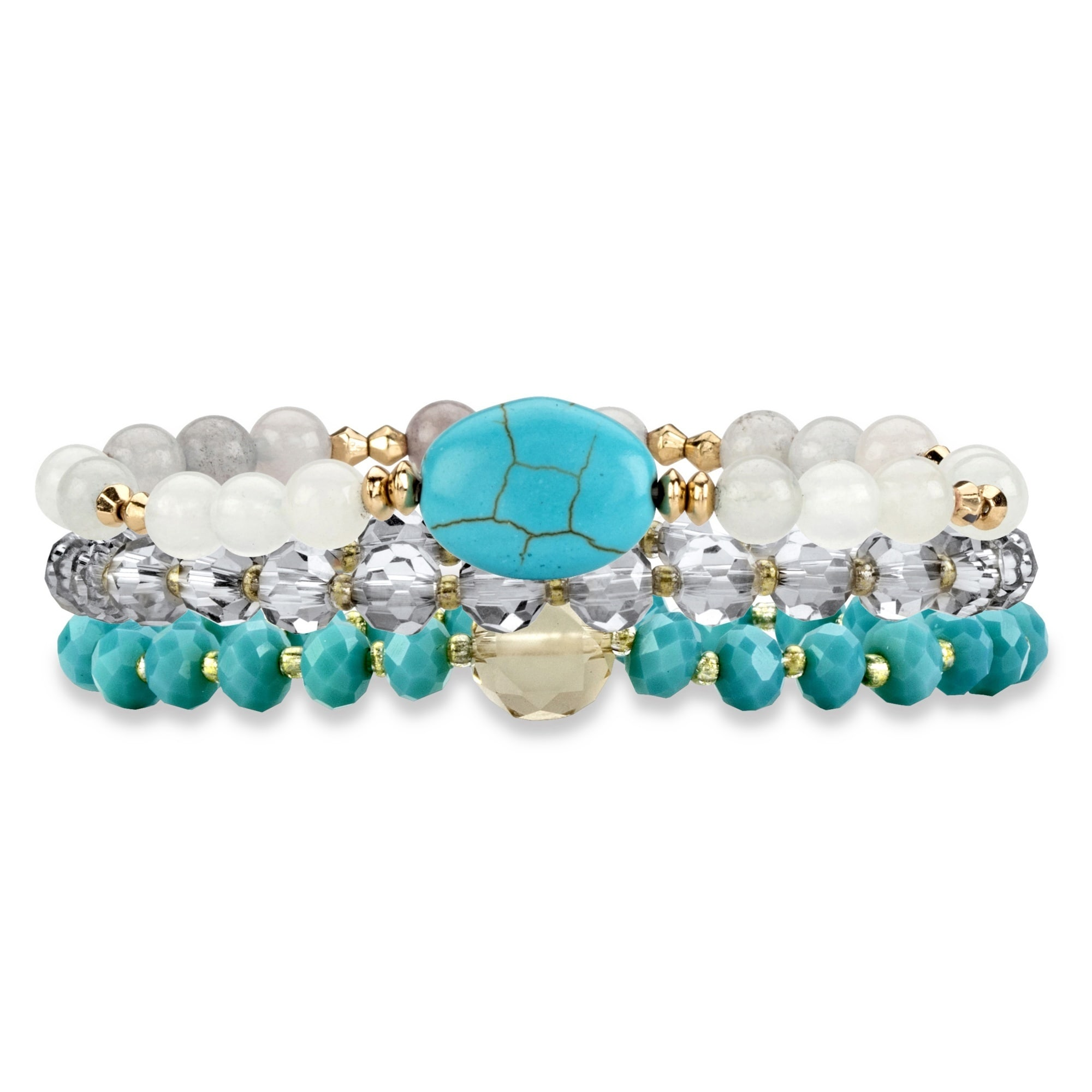 Simulated Turquoise And White Triple-Strand Beaded Stretc...
