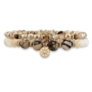"Brown and Gold Faceted 14k Gold-Plated Beaded Double Strand Stretch Bracelet Set 8"" Bold Fashion"