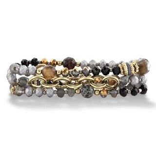 "Multicolor and Grey Faceted 14k Gold-Plated Beaded Multi Strand Stretch Bracelet Set 7"" Bold Fashion"