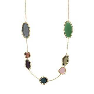 Luxiro Gold Finish Sliced Glass and Cubic Zirconia Necklace - Purple
