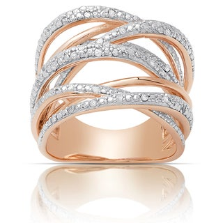 Finesque Gold over Silver or Sterling Silver 1/4ct TW Diamond Multi Band Ring (I-J, I2-I3)