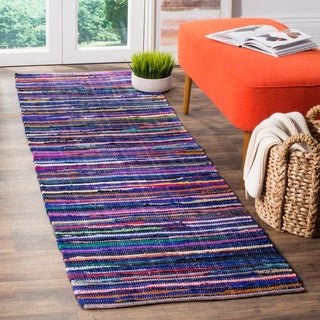 Safavieh Rag Rug Transitional Stripe Hand-Woven Cotton Blue/ Multi Runner Rug (2'3 x 5')