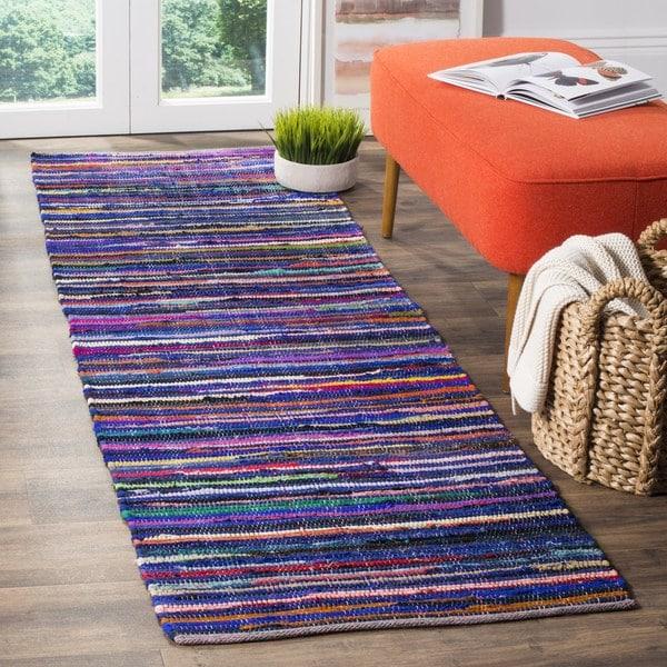 Safavieh Rag Rug Transitional Stripe Hand-Woven Cotton Blue/ Multi Runner Rug (2'3 x 5')
