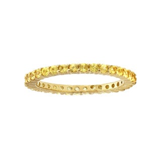 1 carat Natural Yellow Sapphires Eternity Band Ring in 14K Yellow Gold Plated Sterling Silver