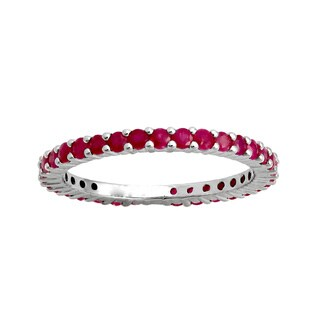 1 carat Natural Red Rubies Eternity Band Ring in Sterling Silver - Blue