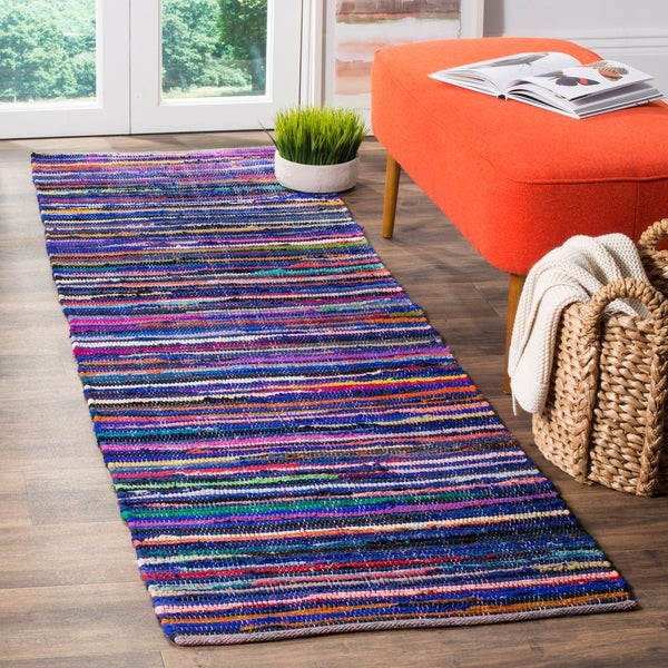 Safavieh Rag Rug Transitional Stripe Hand-Woven Cotton Blue/ Multi Runner Rug - 2'3 x 10'