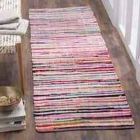 Safavieh Rag Rug Transitional Stripe Hand-Woven Cotton Ivory/ Multi Runner Rug - 2'3 x 9'