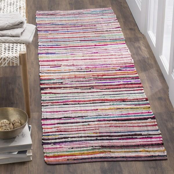 Safavieh Rag Rug Transitional Stripe Hand-Woven Cotton Ivory/ Multi Runner Rug (2'3 x 9')