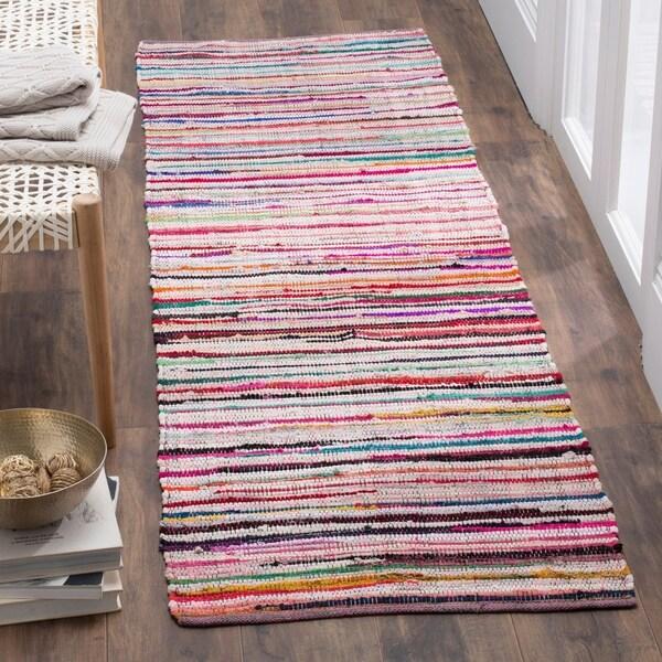 Safavieh Rag Rug Transitional Stripe Hand-Woven Cotton Ivory/ Multi Runner Rug - 2'3 x 7'