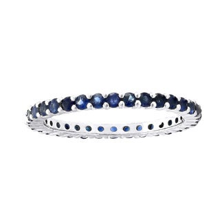 1 carat Natural Blue Sapphires Eternity Band Ring in Sterling Silver