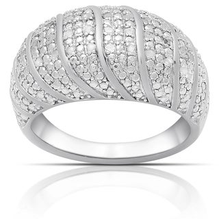 Finesque Sterling Silver 1/4ct TW Diamond Ring (I-J, I2-I3)