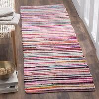 Safavieh Rag Rug Transitional Stripe Hand-Woven Cotton Ivory/ Multi Runner Rug (2'3 x 6')