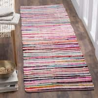 Safavieh Rag Rug Transitional Stripe Hand-Woven Cotton Ivory/ Multi Runner Rug - 2'3 x 10'