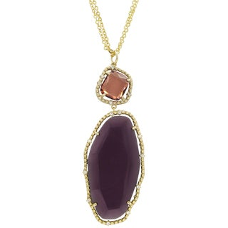 Luxiro Gold Finish Pink and Purple Sliced Glass Chunky Pendant Necklace