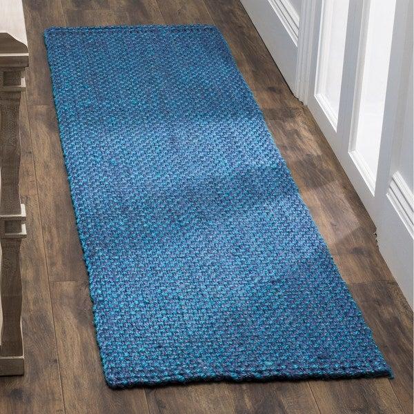 Safavieh Natural Fiber Coastal Geometric Hand-Woven Jute Blue Runner Rug (2'3 x 12')