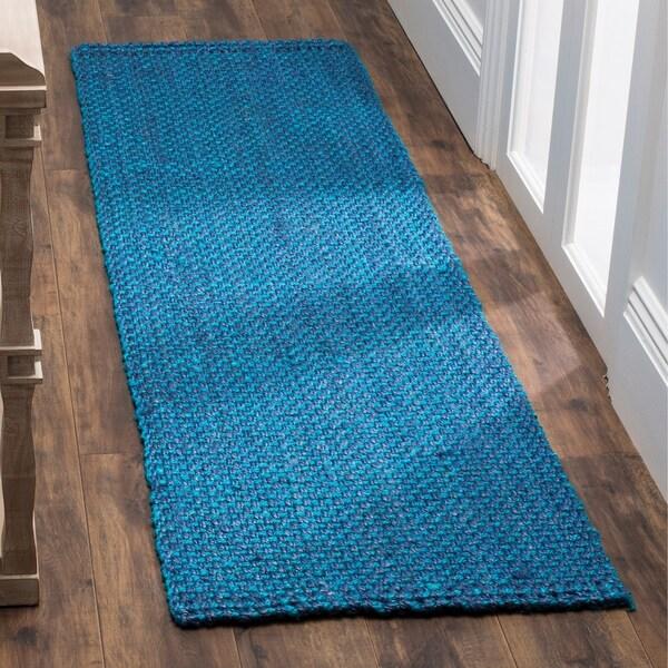 Safavieh Natural Fiber Coastal Geometric Hand-Woven Jute Blue Runner Rug - 2'3 x 12'