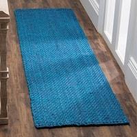 Safavieh Natural Fiber Coastal Geometric Hand-Woven Jute Blue Runner Rug (2'3 x 10')
