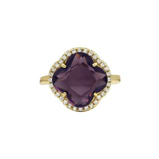 Luxiro Gold Finish Sterling Silver Purple Sliced Glass and Cubic Zirconia Clover Ring|https://ak1.ostkcdn.com/images/products/16412918/P22760775.jpg?impolicy=medium