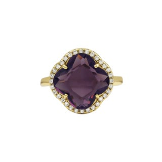 Luxiro Gold Finish Sterling Silver Purple Sliced Glass and Cubic Zirconia Clover Ring