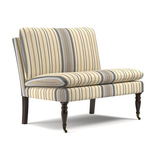 handy living petersburg blue stripe pillow top armless settee