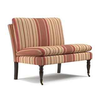 Handy Living Petersburg Red Stripe Pillow Top Armless Settee